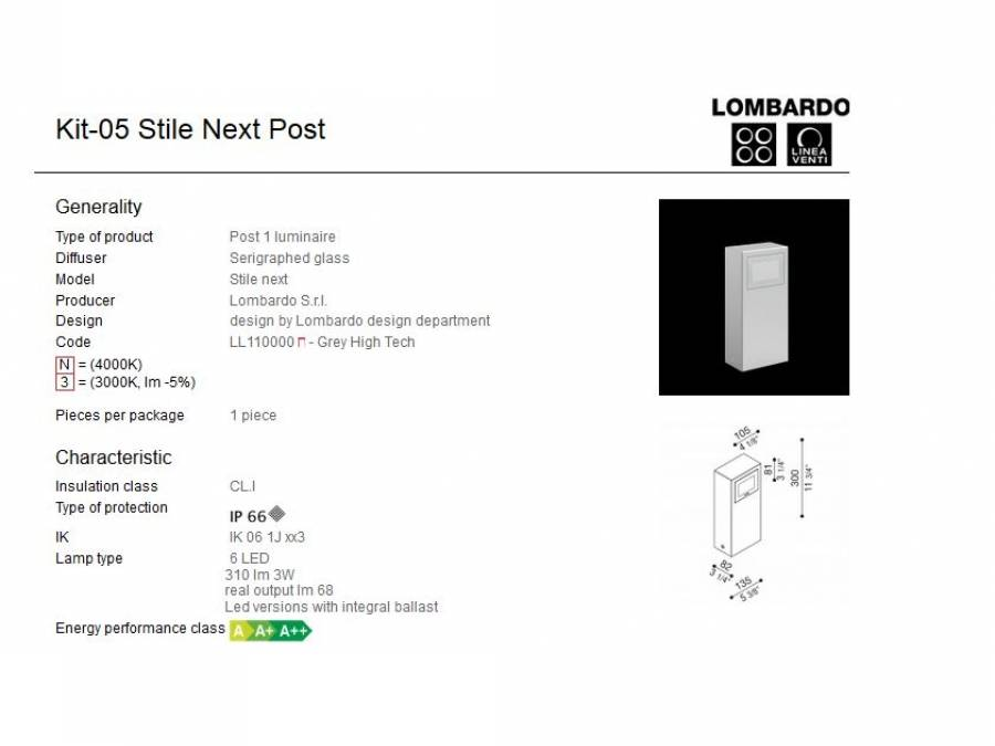 Rasvjetni LED stupić Lombardo Kit-05 Stile Next Post IP66 3W Cijena