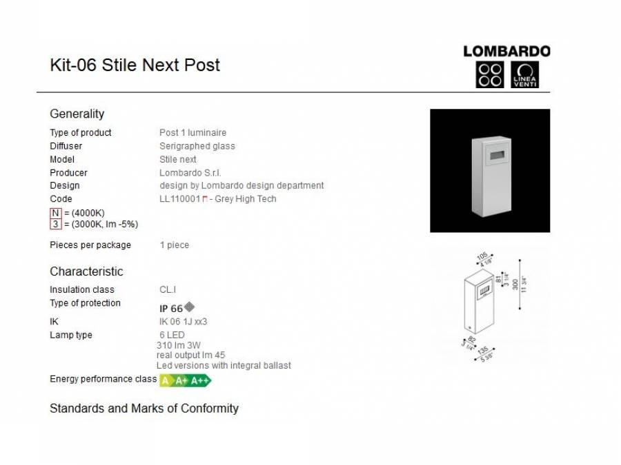 Rasvjetni LED stupić Lombardo Kit-06 Stile Next Post IP66 3W Cijena