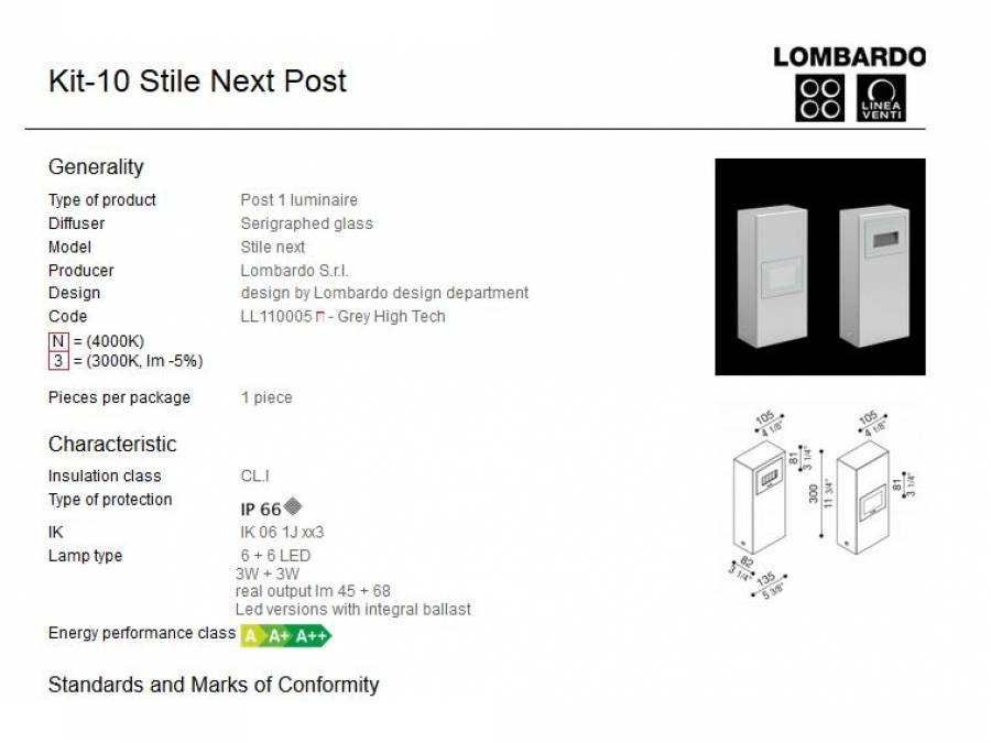 Rasvjetni LED stupići Lombardo Kit-10 Stile Next Post IP66 3W+3W Cijena