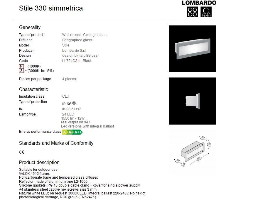 Ugradna LED svjetiljka Lombardo Stile 330 simmetrica IP66 12W