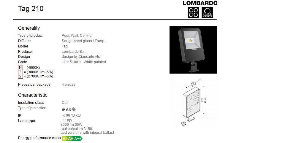 Vanjski nadgradni LED reflektor Lombardo Tag 210 1 LED 25W
