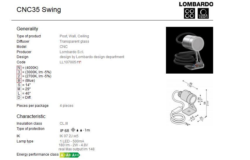Vanjski ili unutarnji nadgradni LED reflektor Lombardo CNC35 Swing 1 LED 2W