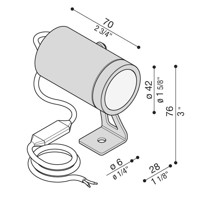 Vanjski ili unutarnji nadgradni LED reflektor Lombardo CNC50 Swing 1 LED 6,5W