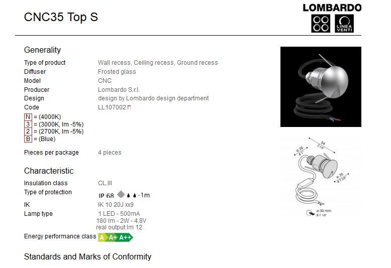 Vanjska ili unutarnja ugradna LED svjetiljka Lombardo CNC35 Top S 1 LED 2W