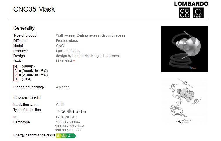 Vanjska ili unutarnja ugradna LED svjetiljka Lombardo CNC35 Mask 1 LED 2W