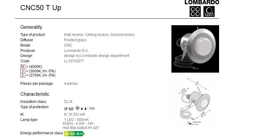 Vanjska ili unutarnja ugradna LED svjetiljka Lombardo CNC50 T Up 1 LED 6,5W