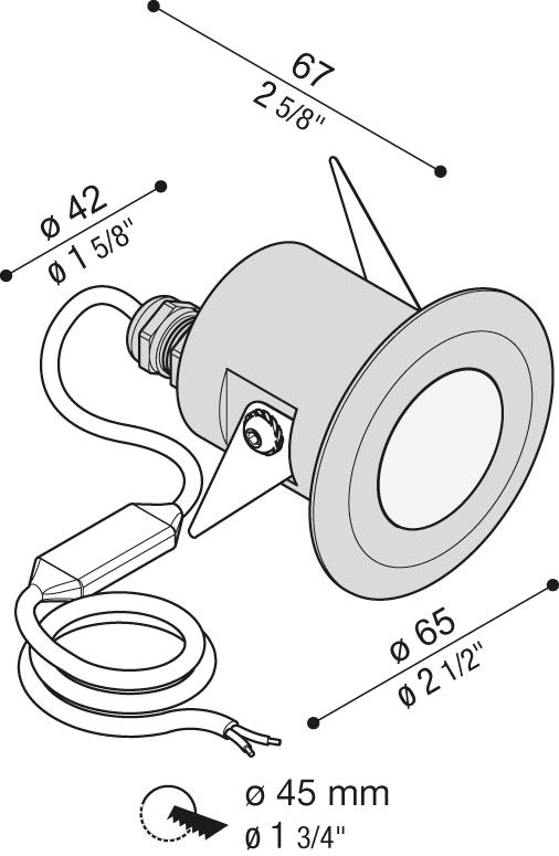Vanjska ili unutarnja ugradna LED svjetiljka Lombardo CNC50 T 1 LED 6,5W
