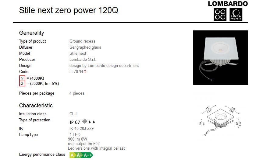 Vanjska ugradna svjetiljka Lombardo Stile next zero power 120Q 1 LED 8W