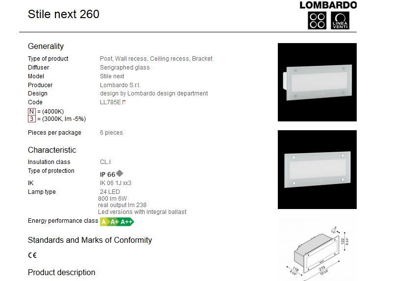 Vanjska ugradna svjetiljka Lombardo Stile next 260 24 LED 6W