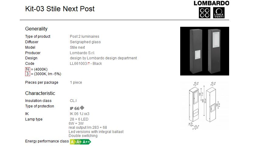 Rasvjetni LED stupići Lombardo Kit-03 Stile Next Post IP66 6W+3W