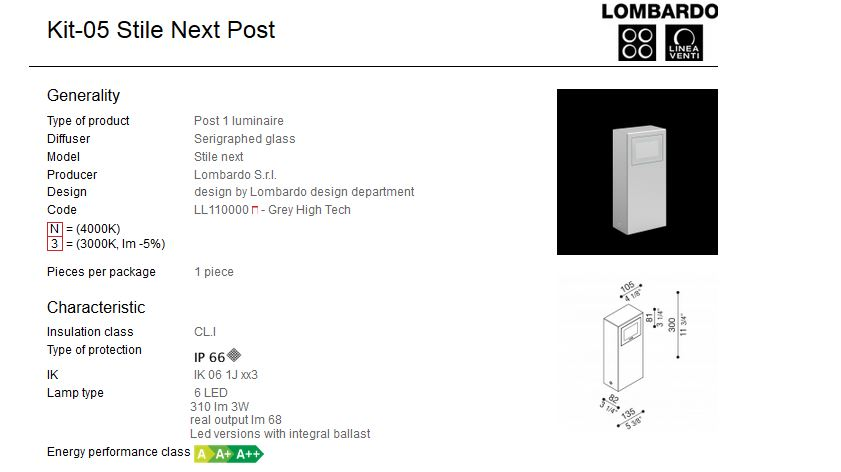 Rasvjetni LED stupić Lombardo Kit-05 Stile Next Post IP66 3W