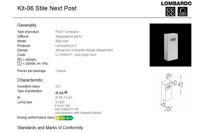 Rasvjetni LED stupić Lombardo Kit-06 Stile Next Post IP66 3W