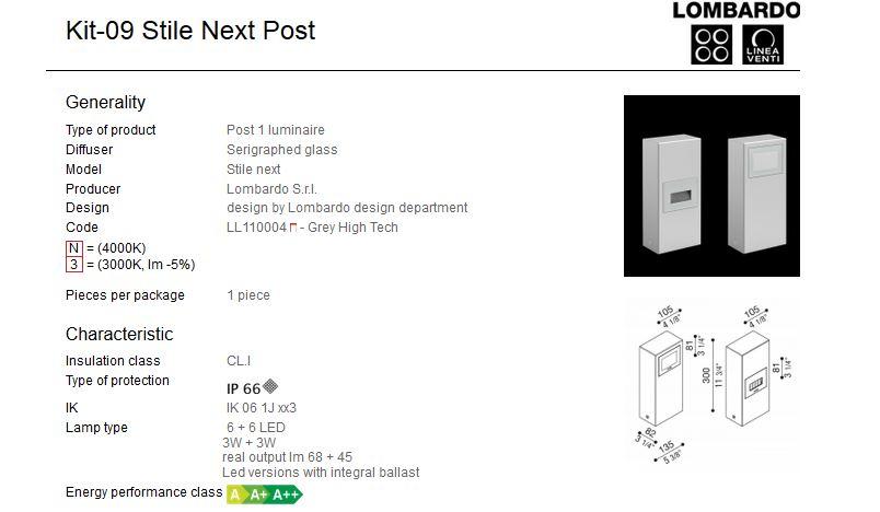 Rasvjetni LED stupići Lombardo Kit-09 Stile Next Post IP66 3W+3W