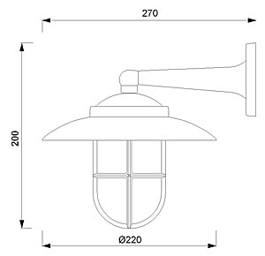 Zidna svjetiljka Laura Suardi 2060.L E27 - mesing IP43