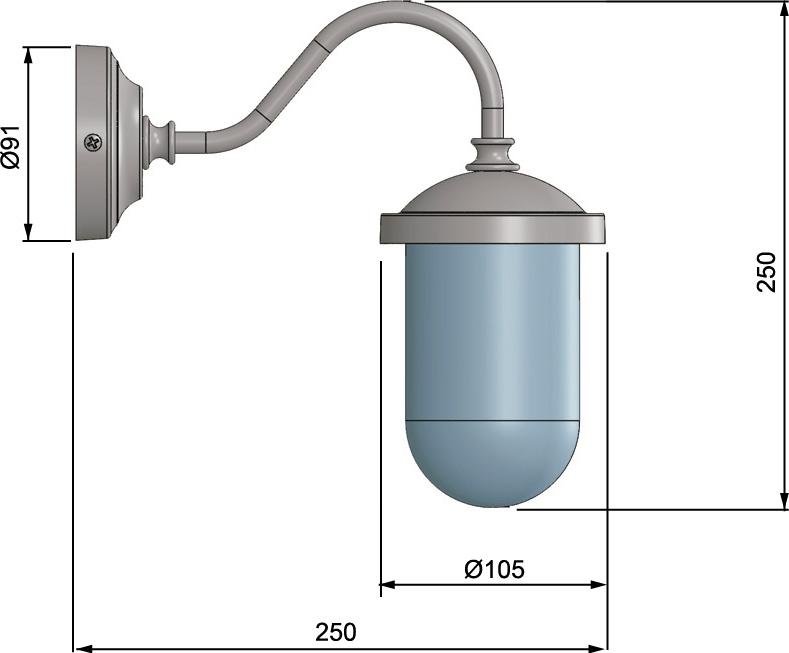 Zidna svjetiljka Laura Suardi 2326.L E27 - polirani mesing