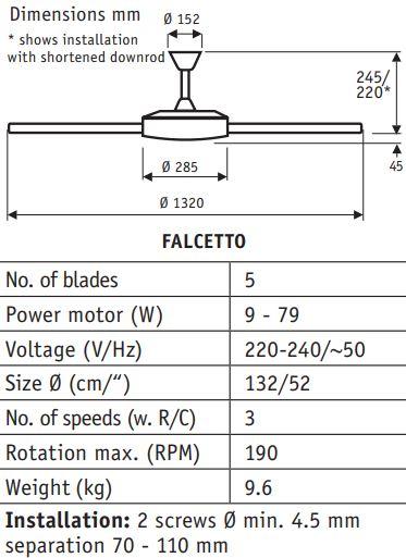 Stropni ventilator Casa Fan Falcetto Ø 132 cm