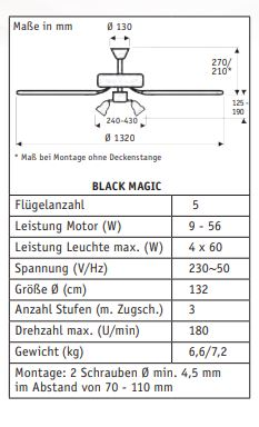 Stropni ventilator Casa Fan Black Magic Ø 132 cm