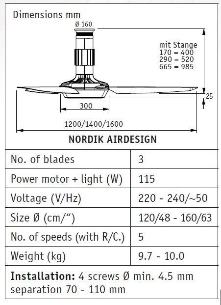 Stropni ventilator Casa Fan Nordik Airdesign Ø 120, 140 ili 160