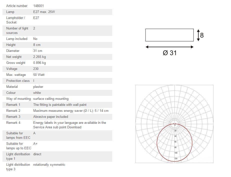 Stropna lampa SLV Big White GL 105 E27, max. 2x 25W 148001