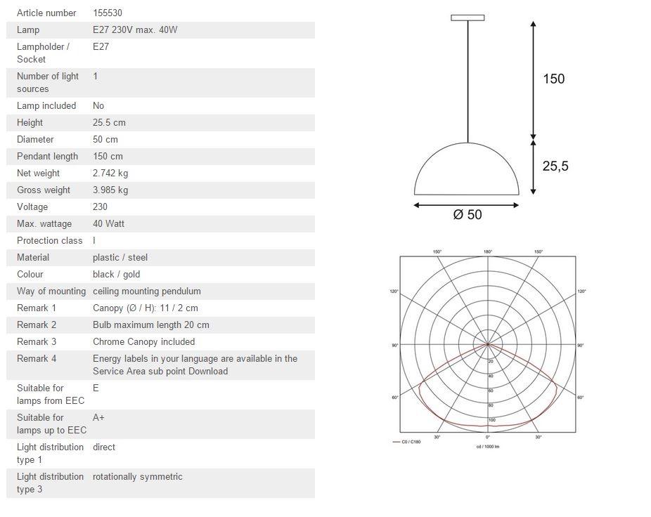 Luster SLV Big White FORCHINI PD-1 E27, max. 40W 155530
