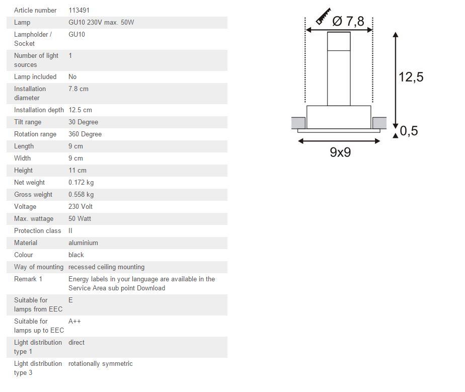 Ugradbena stropna lampa SLV Big White NEW TRIA 1 GU10 max. 50W četvrtasta