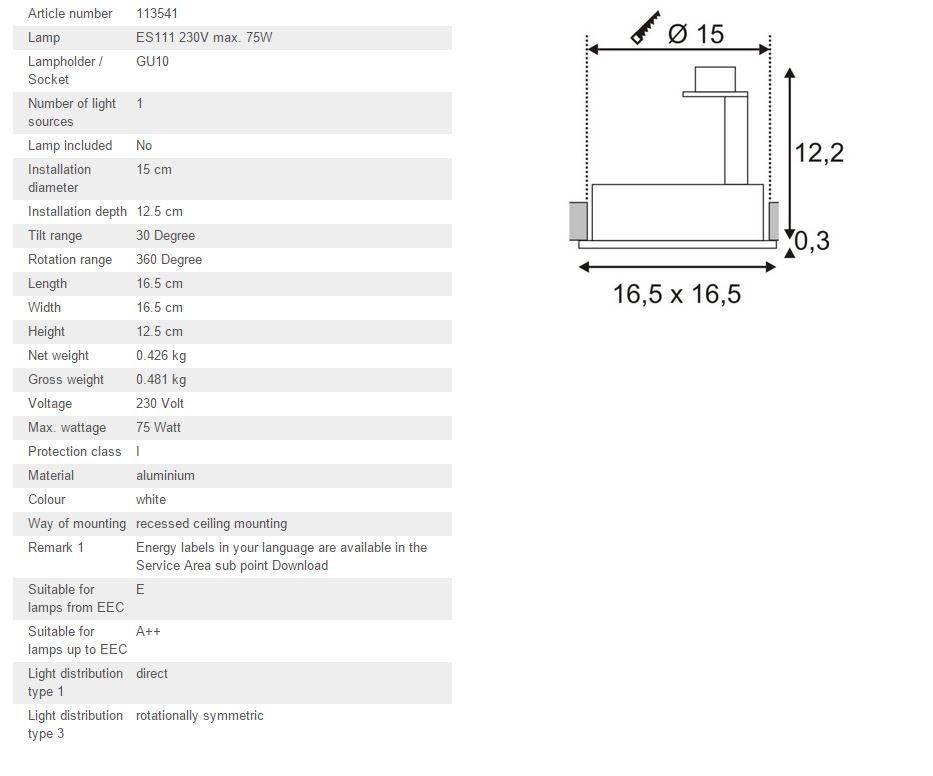 Ugradbena stropna lampa SLV Big White NEW TRIA 1 ES111 max. 75W četvrtasta