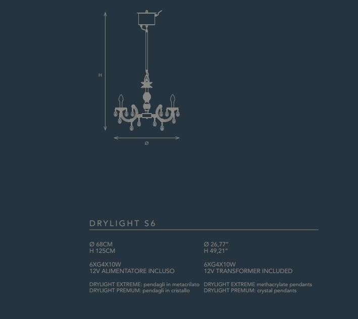 Vanjski luster Masiero Drylight S6 extreme IP65 LED
